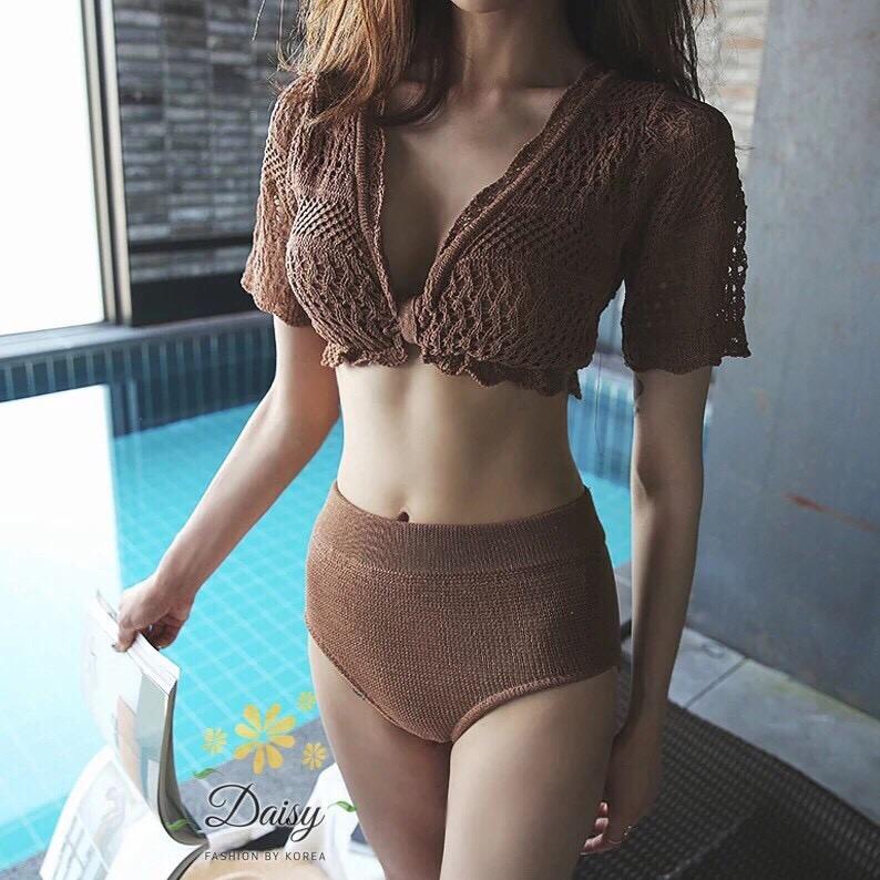 ชุดเซทแฟชั่น ชุดว่ายน้ำแบบถัก ข้างในชุดมีซับในและมีฟองน้ำให้ค่ะ