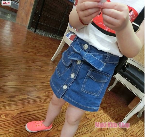 กระโปรงยีนส์เด็ก แฟชั่นเสื้อผ้าเด็กผู้หญิง ไซส์ 15