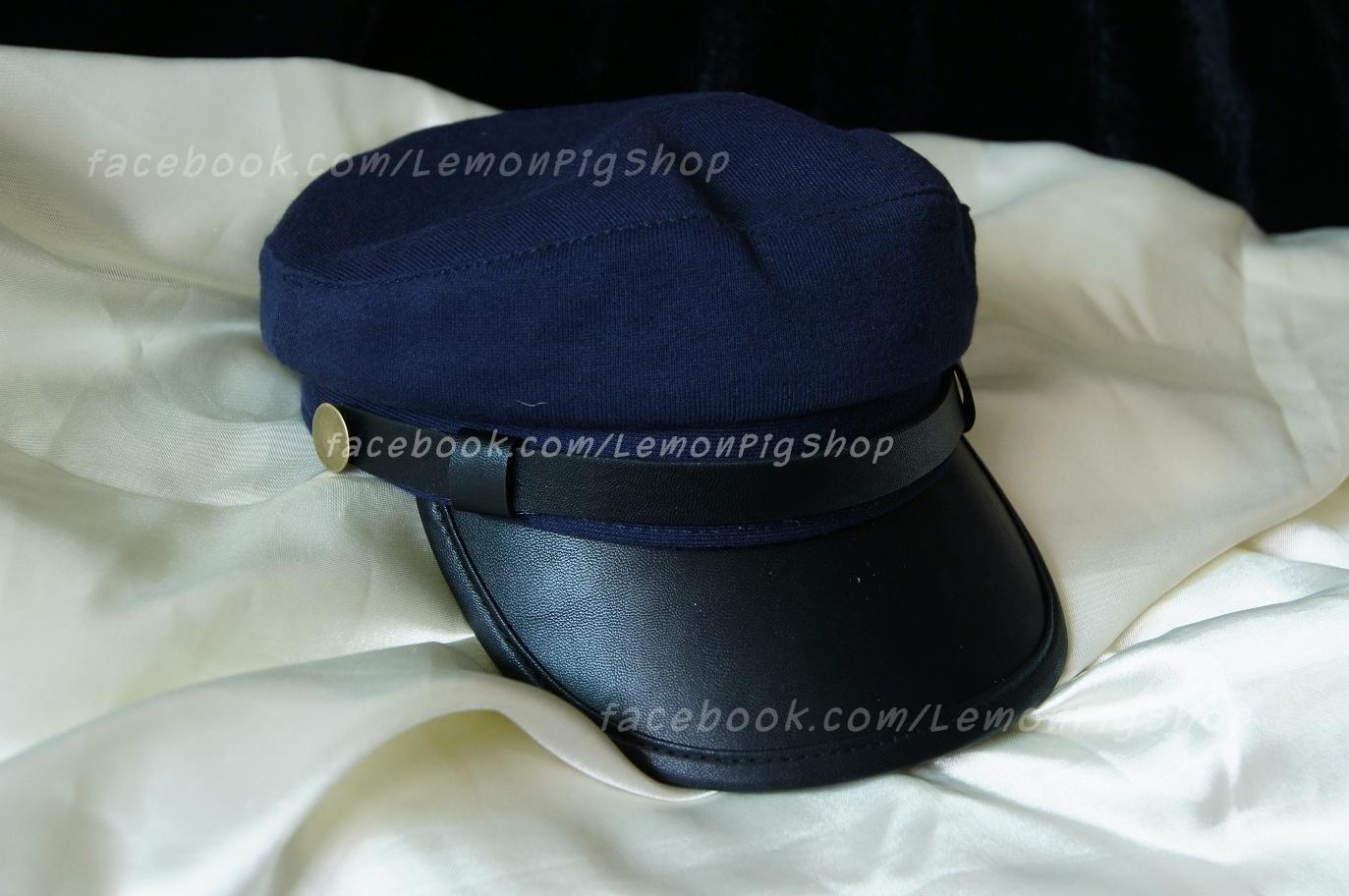 หมวกโกโบริ หมวกกัปตัน ผ้า ปีกหน้าหนัง สีน้ำเงิน กรมท่า !!!