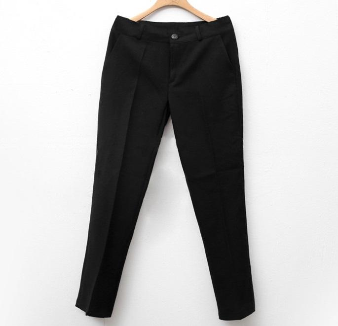 Pre-Order กางเกงทำงานผู้หญิง ทรงตรง ผ้าฝ้ายผสมขนสัตว์ สีดำ