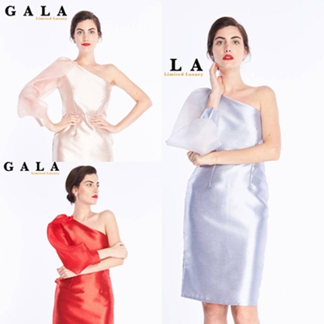 เดรสแฟชั่น One Shoulder Gala Dress ผ้าไหมอิตาเลี่ยน