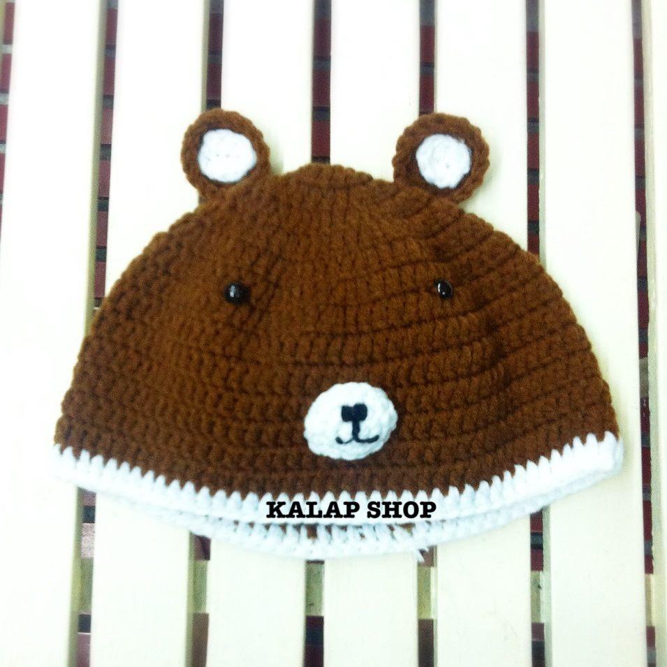 [พร้อมส่ง] หมวกไหมพรมหมีน้ำตาล