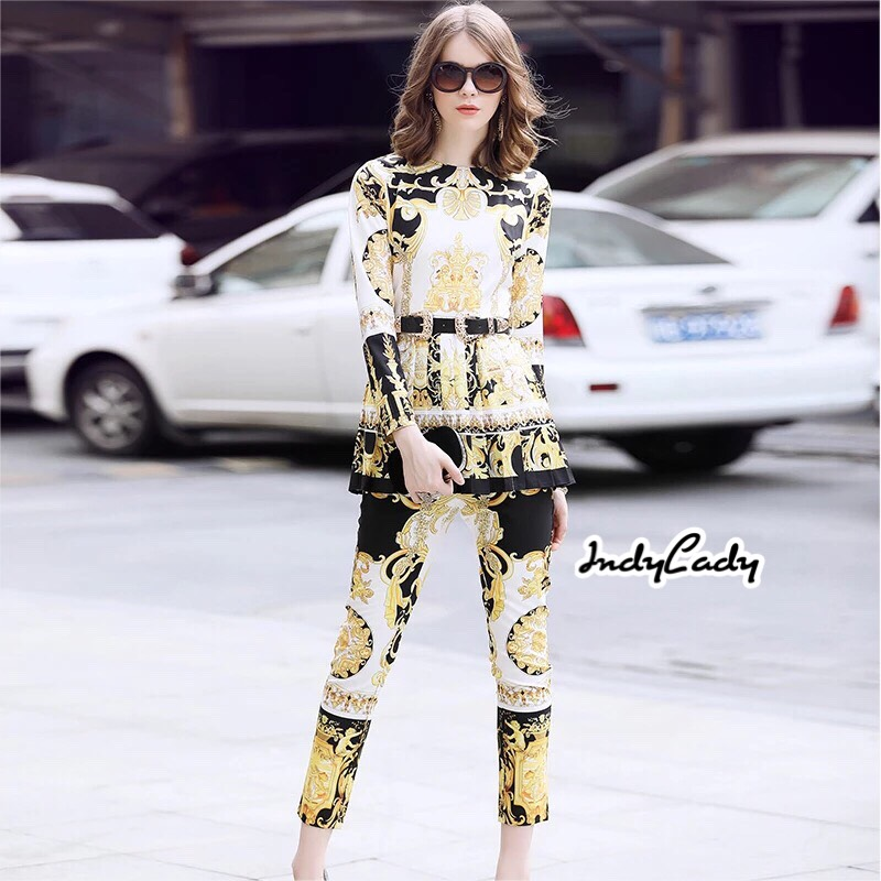 ชุดเซทแฟชั่น เสื้อ+กางเกง ตัวเสื้อแขนยาว ทรงสวย งานสวย
