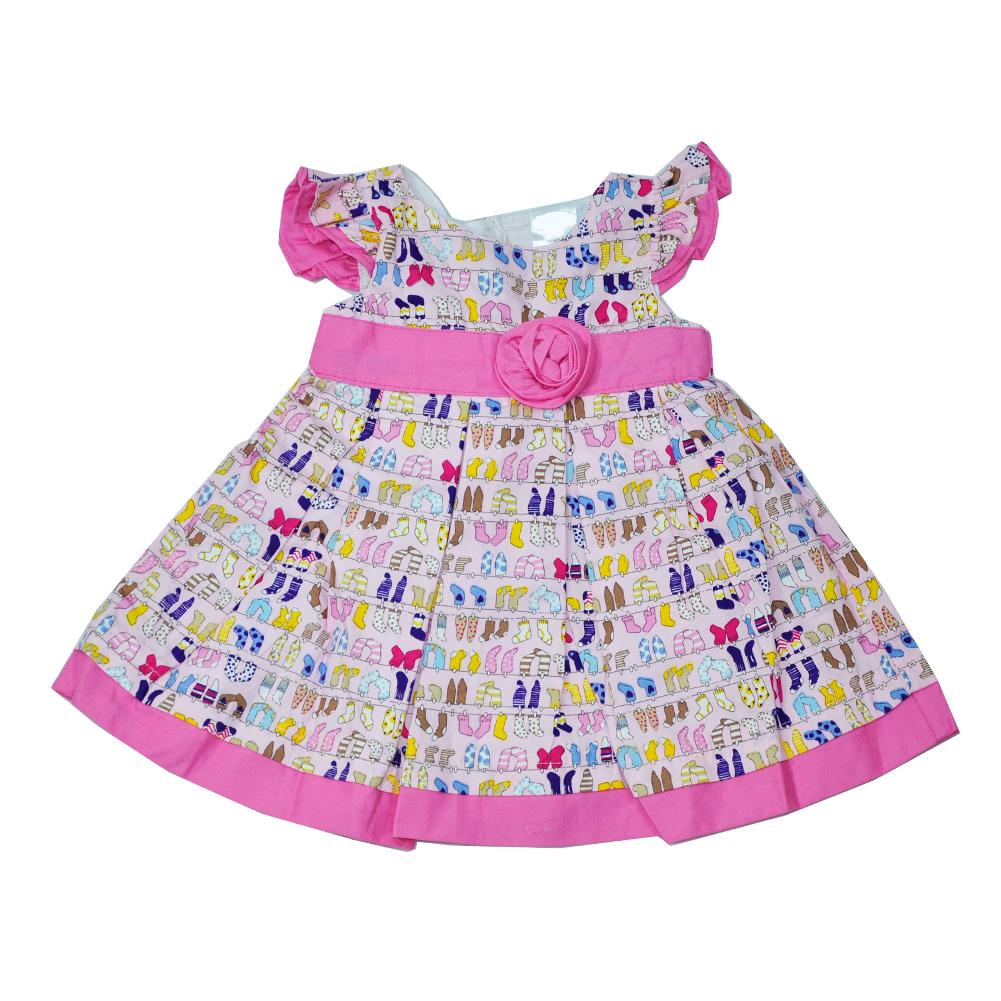 ชุดเดรสเด็กหญิง สีชมพู ขนาด 3-9 เดือน