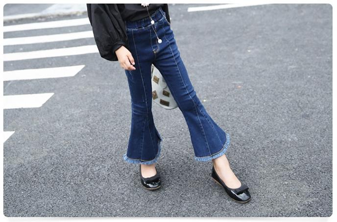 กางเกงยีนส์เด็กหญิงขาม้า กางเกงยีนส์แฟชั่นเด็ก