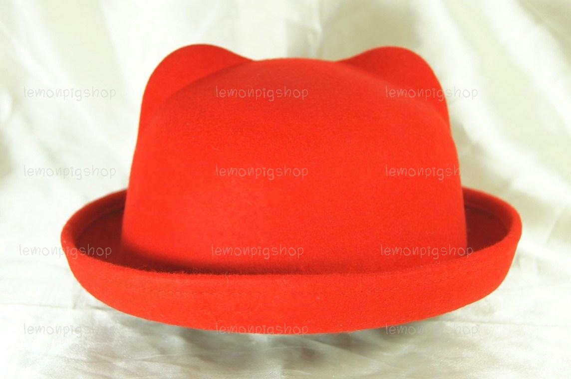 หมวกหูแมว ปีกรอบ สีแดง สุดฮิต !!