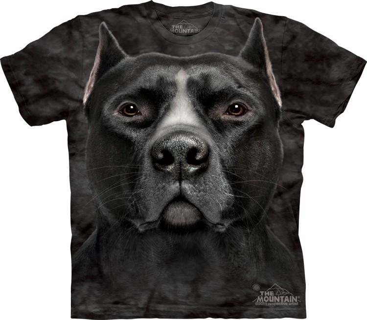 Pre.เสื้อยืดพิมพ์ลาย3D The Mountain T-shirt : Black Pit Bull Head