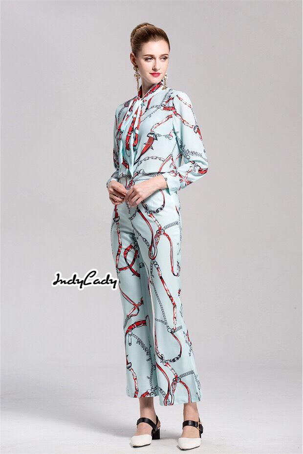 ชุดเซทแฟชั่น เสื้อ+กางเกงแขนยาว ทรงสวย เนื้อผ้าซีฟอง