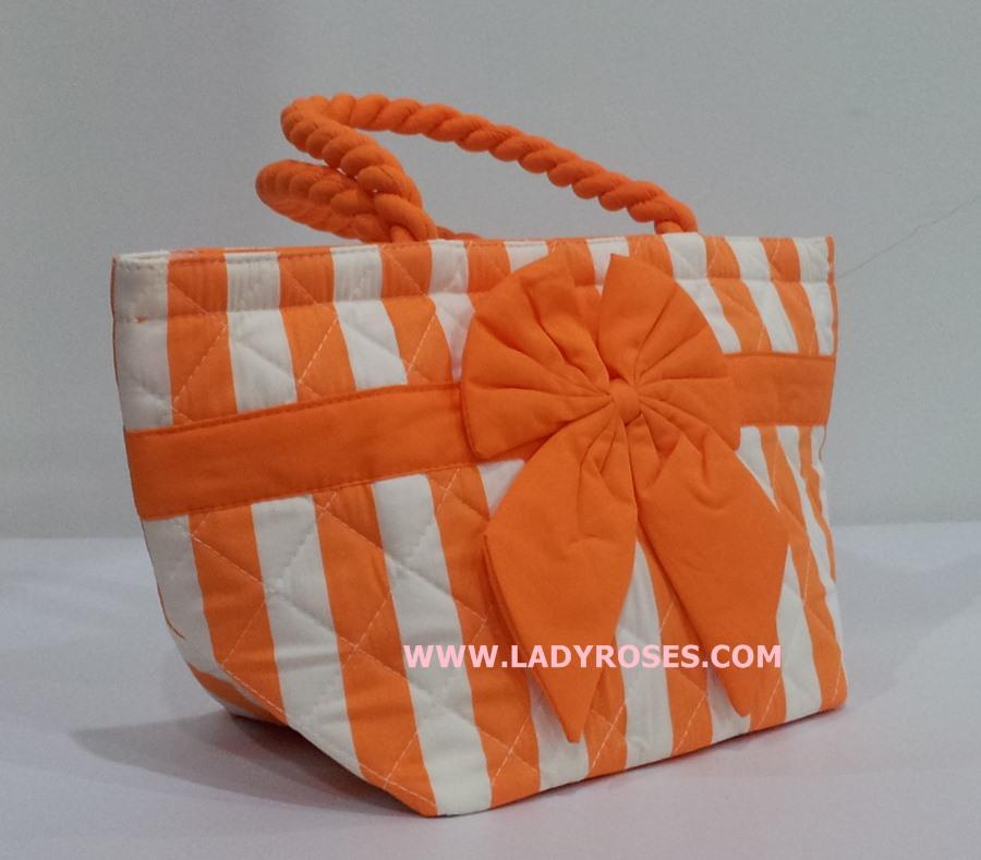 กระเป๋าถือ นารายา Size S ผ้าคอตตอน ลายทาง สีส้ม สลับขาว ผูกโบว์ สีส้ม สายหิ้ว หูเกลียว (กระเป๋านารายา กระเป๋าผ้า NaRaYa กระเป๋าแฟชั่น)