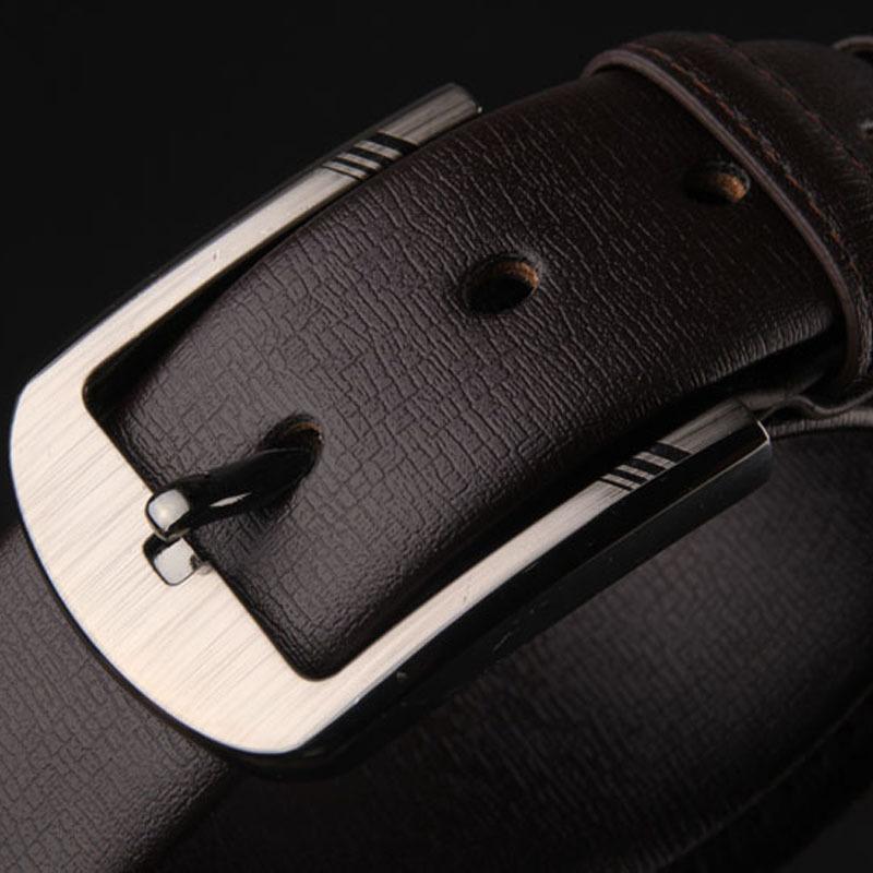 พรีออเดอร์ เข็มขัดผู้ชาย เข็มขัดหนังแท้สีน้ำตาลเข้ม หัวเข็มขัดหัวเหลี่ยมสีเงิน