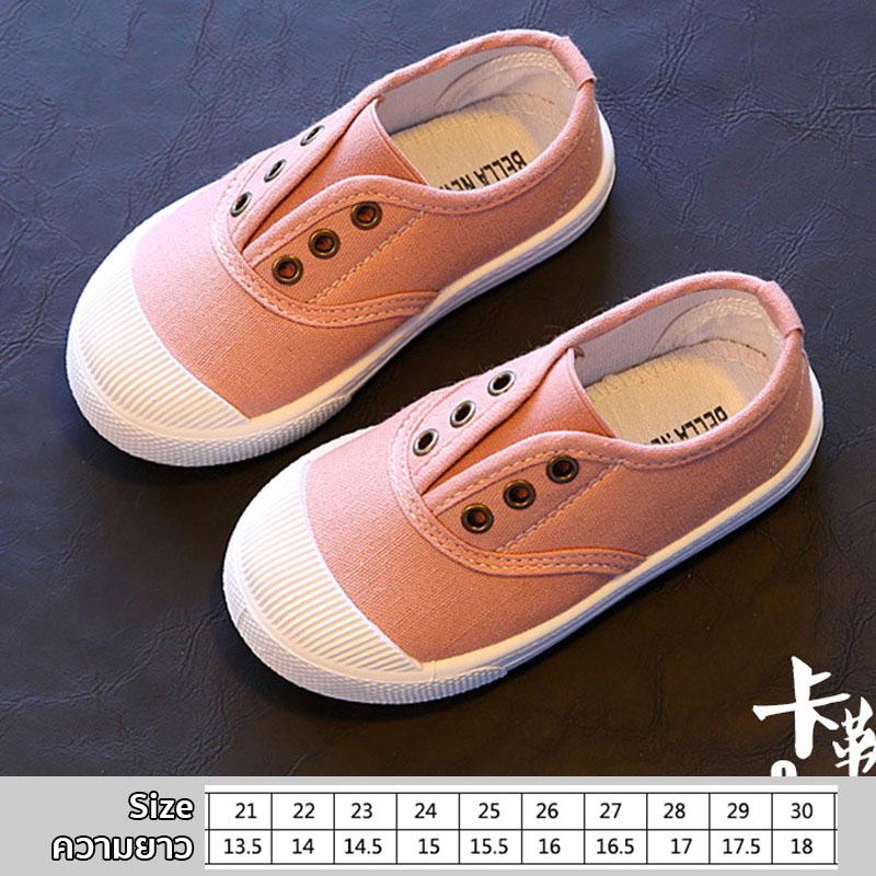 รองเท้าผ้าใบเด็กแบบสวม สีชมพูนม