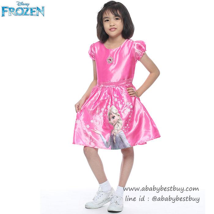ชุดเดรสราตรีกระโปรงบานสีชมพู แขนตุ๊กตา ลายเจ้าหญิงเอลซ่า ดิสนีย์แท้ ลิขสิทธิ์แท้ (สำหรับเด็ก4-6-8-10 ปี)