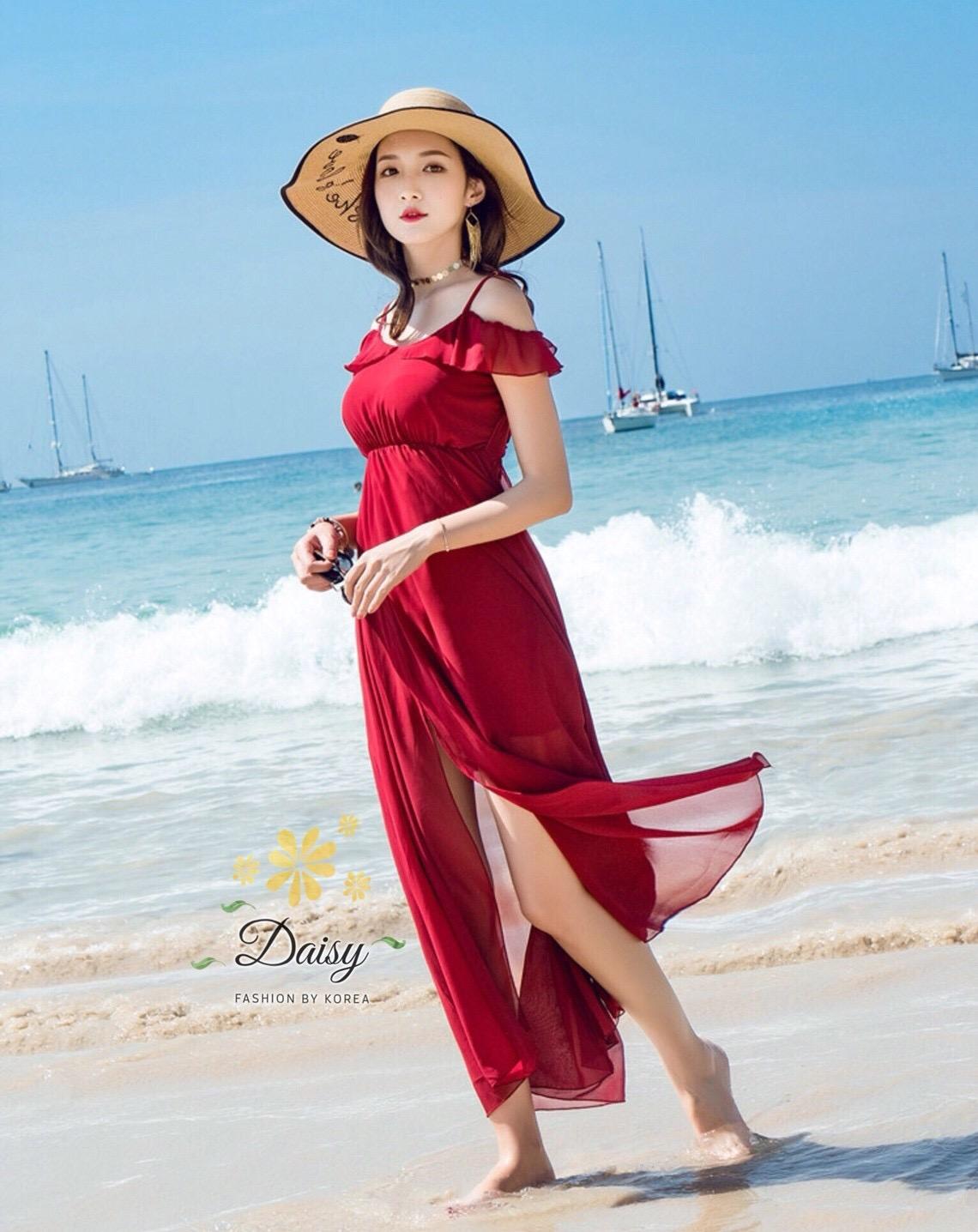 เดรสแฟชั่น เดรสผ้าชีฟองเกาหลี เนื้อจะหนากว่าชีฟองปกติ มีน้ำหนักทิ้งตัวสวย