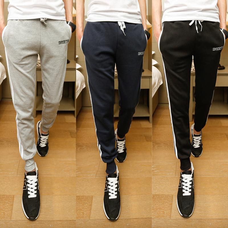 Pre Order กางเกงวอร์มขายาวอินเทรนด์ แนวฮาเร็ม ปักลายอักษรแต่งแถบข้าง มี3สี