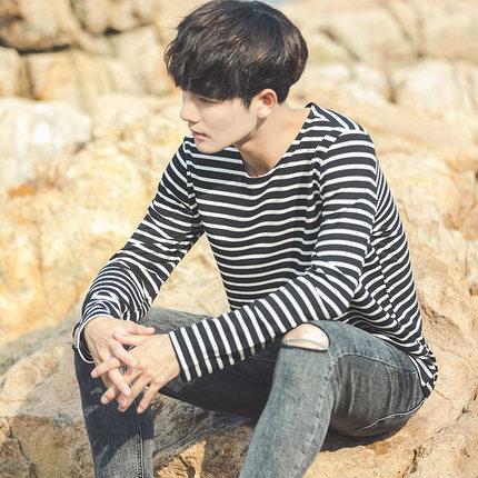 เสื้อยืดแขนยาวเกาหลี แต่งลายขวาง ผ้าหนานุ่ม มี3สี