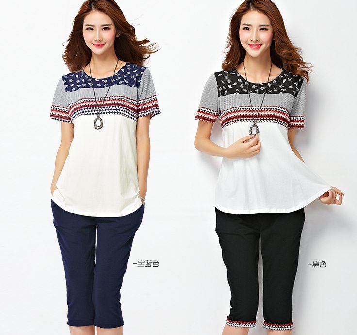 PreOrderไซส์ใหญ่ - เซตคู่ เสื้อ-กางเกง คนอ้วนไซส์ใหญ่ เป็นชุดลำลอง ผ้าโพลิเอสเตอร์ กางเกงสี่ส่วน สี : ดำ / น้ำเงิน