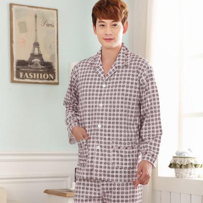 Pre Order ชุดนอนผ้าฝ้ายผู้ชาย เสื้อเชิ้ตแขนยาว+กางเกงขายาว คอปก เนื้อผ้าดี สีตามรูป