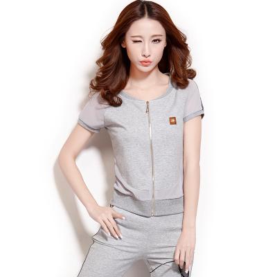 Sport Set เกาหลี ดีไซน์ซิบ เสื้อแขนสั้น+กางเกงขาสามส่วน มี4สี