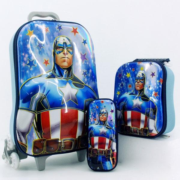กระเป๋าล้อลากลายการ์ตูน เซ็ตสุดคุ้ม 3 ใบ กัปตันอเมริกัน