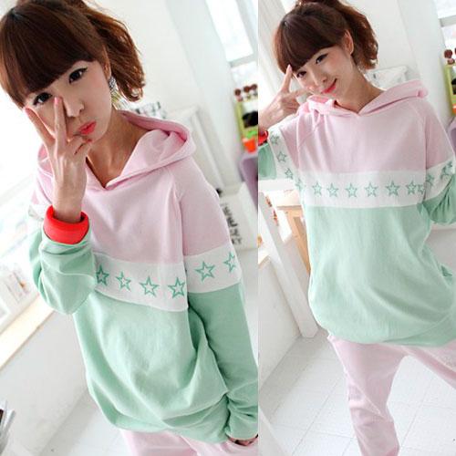 ++สินค้าพร้อมส่งค่ะ++ชุด Sport set เกาหลี เสื้อแขนยาว มี Hood เอวจั้ม +กางเกงขายาว ดีไซด์เล่นสีผ้าเก๋ มี 3 สีค่ะ - สีเขียว/ชมพู