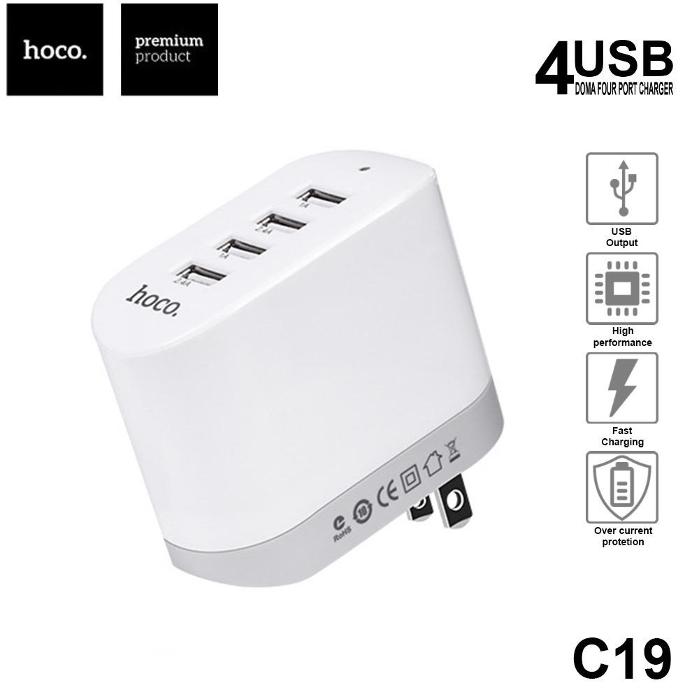 Hoco 4USB C19 หัวชาร์จ 4 ช่อง USB