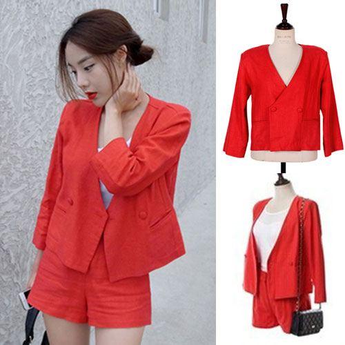 ++สินค้าพร้อมส่งค่ะ++ ชุดเซ็ทเกาหลี เสื้อสูท คอ V แขนยาว ผ้า Cotton Blend เนื้อดีค่ะ +กางเกงขาสั้น สไตล์ Retro เก๋ – สีแดง