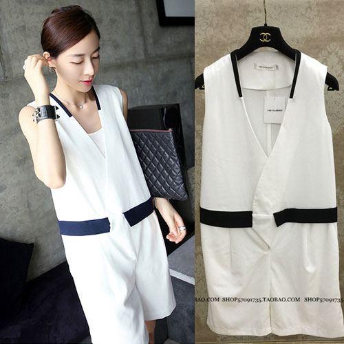 ++สินค้าพร้อมส่งค่ะ++Jumpsuit กางเกงขาสั้นเกาหลี คอ V แขนกุด ผ้าชีฟอง แต่งขอบเอวสีดำกระเป๋าหลอกค่ะ – สีขาว