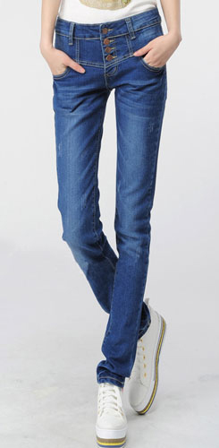 กางเกงขายาว สี Blue Jean ผ้ายีนส์เนื้อดี กางเกงทรง pencil กระดุมกางเกง