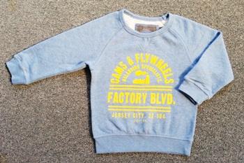 ฺBSH-200 (1.5-2Y,10-12Y) เสื้อยืดกันหนาว Champs สีฟ้า พิมพ์ CAMS & Fly Wheels...สีเหลือง