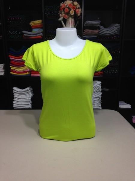 """เสื้อยืดคอกลม สีเขียวมะนาว size """"M"""""""