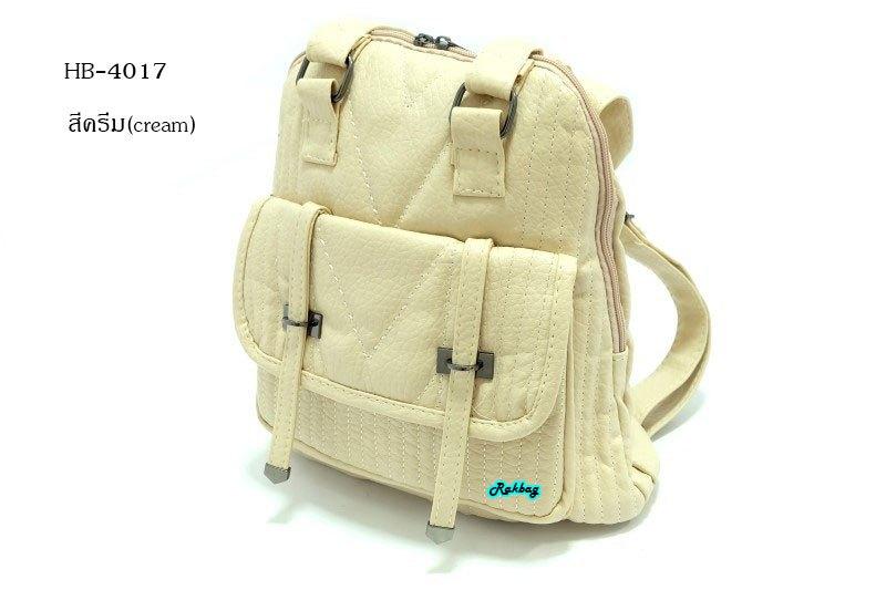 พร้อมส่ง HB-4017 มีหลายสี กระเป๋าสะพายเป้นำเข้าหนัง PU เนื้อนุ่มปรับเป็นเป้และสะพายข้างได้อะไหล่รมดำทุกจุด