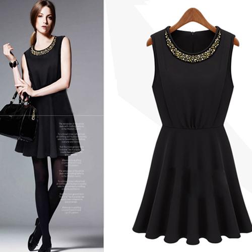 DRESS ชุดเดรสแขนกุด สีดำ คอกลม แฟชั่นเกาหลี สาวมั่น ใส่ทำงาน ผ้า COTTON แต่งลูกปัดคอเสื้อ สวมใส่ดูดีมีสไตล์ thaishoponline