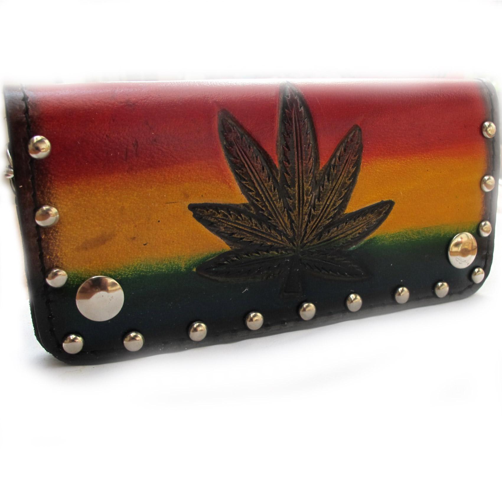 กระเป๋าสตางค์ยาว หนังแท้ รูป BOB MARLEY4 ใบกัญชา แบบ 2 พับ พร้อมโซ่