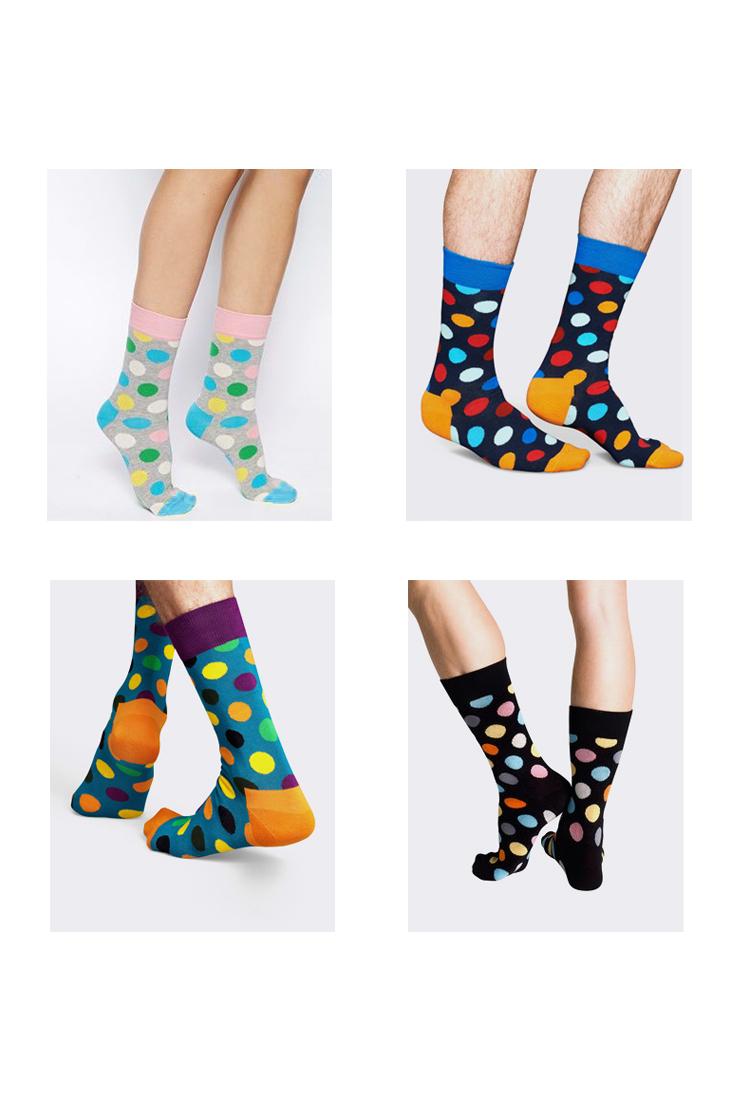 S482**พร้อมส่ง** (ปลีก+ส่ง) ถุงเท้าแฟชั่นเกาหลี ข้อยาว ลายจุด เนื้อดี งานนำเข้า(Made in china)