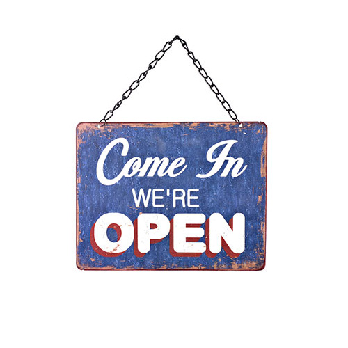 Blue Tin Open/Closed 2-Sided Sign