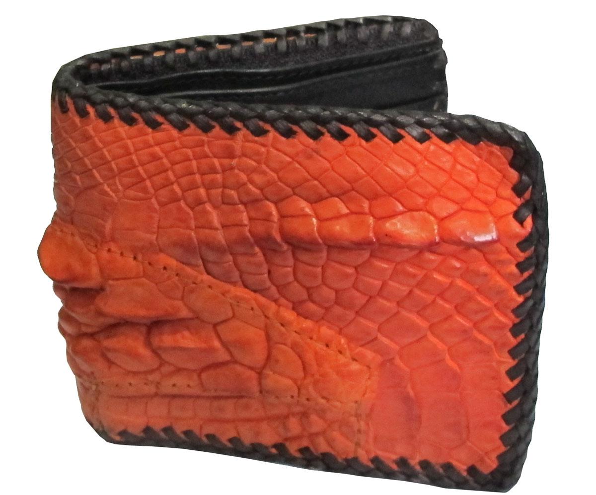 กระเป๋าสตางค์ 2 พับ หนังจระเข้เเท้ หนังต่อเย็บมือ สีส้ม