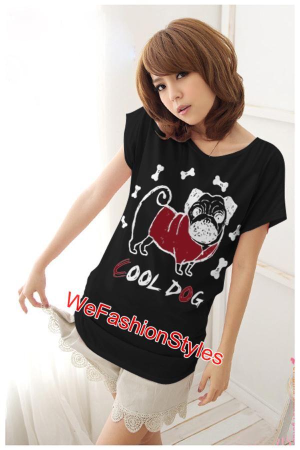 เสื้อยืดแฟชั่น ผ้านุ่ม ลาย Cool Dog (Size M:36 นิ้ว) สีดำ