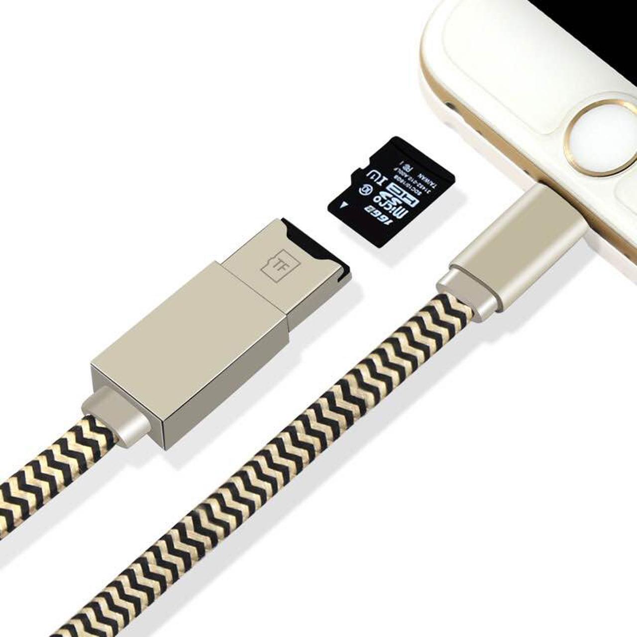 สายชาร์จ idragon แบบสายถัก+ TF M Icro SD card reader writer สีดำ