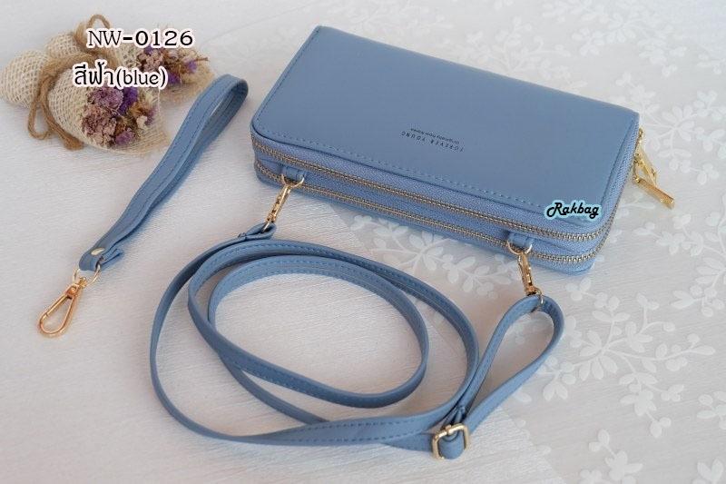 พร้อมส่ง รหัส NW-0126 สีฟ้าเข้ม กระเป๋าสตางค์ยาวพร้อมสายสะพายหนัง 2 ซิป Forever Young series