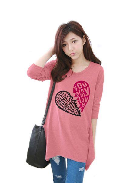 เสื้อยืดเกาหลีแขนยาว ปลายหยัก ผ้า Cotton Combed ลาย Broken Heart สีโอรส