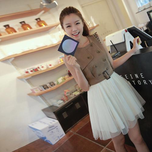 DRESS ชุดเดรสแฟชั่นใส่ทำงาน แขนกุด สีน้ำตาล สีครีม ผ้าคอตตอน + ผ้ากอซ กระดุมหน้า น่ารัก thaishoponline (พร้อมส่ง)