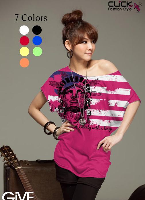 เสื้อยืดแฟชั่น ชายเสื้อดึงยาง ลาย Liberty Flag สีชมพูบานเย็น (คอปกติ ไม่กว้าง ไม่เปิดไหล่)