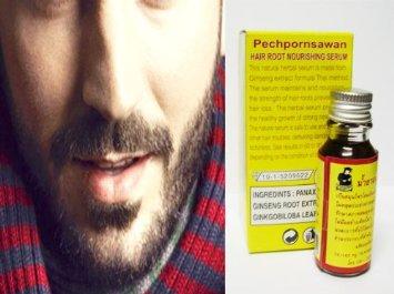 ยาปลูกหนวด BEARD FACIAL HAIR GROWTH Sideburn Moustache growth SERUM 15ml Ginseng & Ginkgo