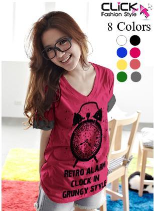เสื้อยืดแฟชั่น คอวี แขนเบิ้ล ลาย Alarm Clock (Size M: 35) สีชมพูบานเย็น