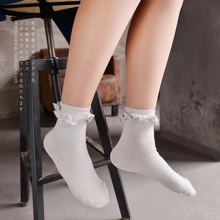 S401**พร้อมส่ง** (ปลีก+ส่ง) ถุงเท้าแฟชั่น ข้อยาว แต่งระบาย คละ5 สี เนื้อดี งานนำเข้า มี 10 คู่ต่อแพ็ค