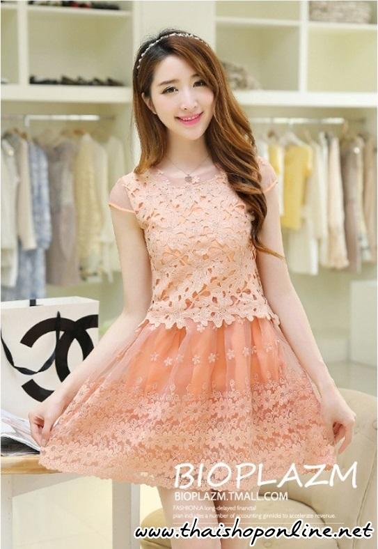 ชุดเดรสสั้น ตัวเสื้อผ้าถักลายดอกไม้ สีส้ม กระโปรงผ้าไหมแก้ว มีซับใน
