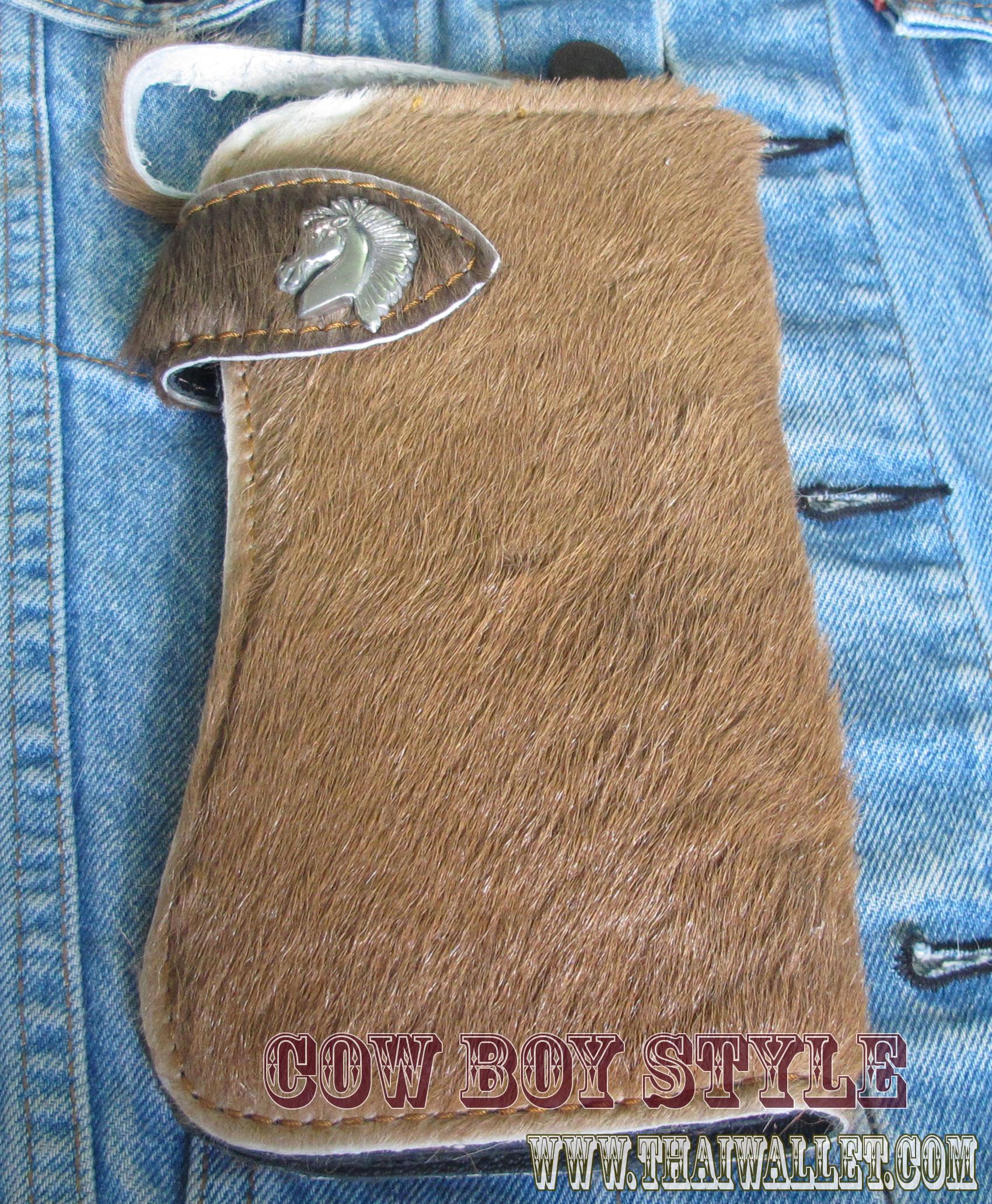 กระเป๋าสตางค์ยาว ขนวัวแท้ Style Cowboy รุ่น กระดุ่ม นิกเกอล รูปหัวม้า