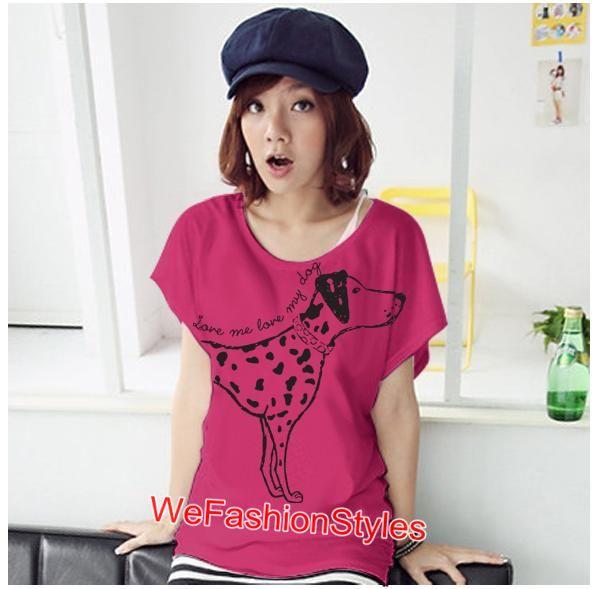 เสื้อยืดแฟชั่น ผ้านุ่ม ลาย Love Me (Size M:32-36 นิ้ว) สีชมพูบานเย็น