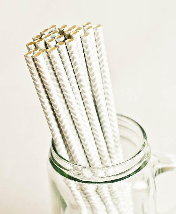 Paper Straws in Metallic Silver & White Chevron Stripes