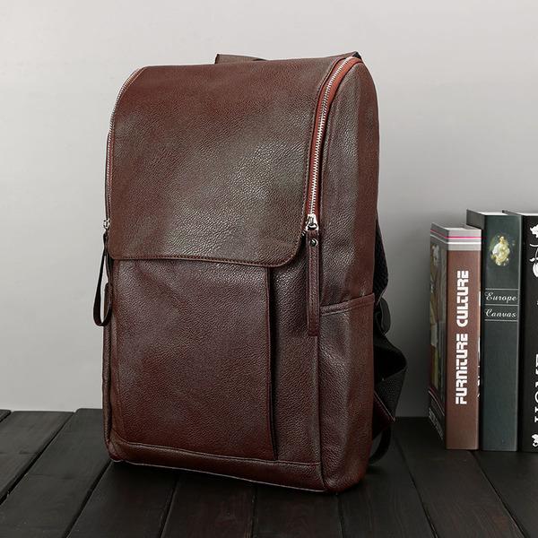 Pre-order กระเป๋าเป้สะพายหลังผู้ชายแฟขั่นเกาหลี มีช่องเก็บคอมพิวเตอร์ รหัส Man-9367-S รุ่นหนัง สีน้ำตาล